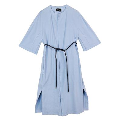 waist string dress coat skyblue